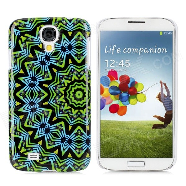 Protective Round Tribe Tattoo Pattern Back Case for Samsung Galaxy S4/I9500  - Green + Blue + Yellow protective cute spots pattern back case for samsung galaxy s4 i9500 multicolored