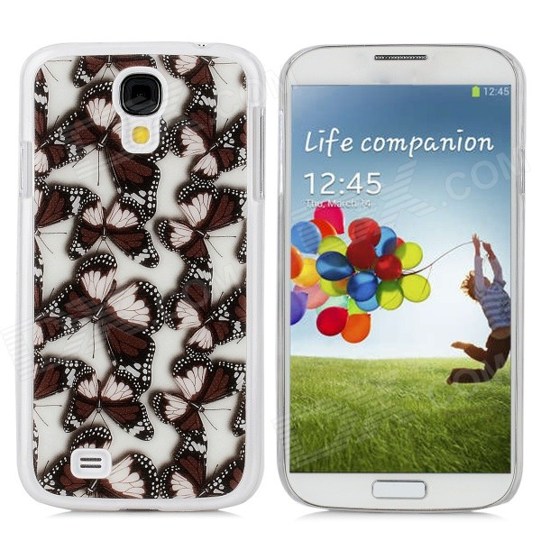 Protective Butterfly Pattern PC Back Case for Samsung Galaxy S4 / i9500 - Brown + Black + White protective cute spots pattern back case for samsung galaxy s4 i9500 multicolored