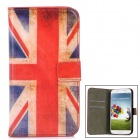 Protective Union Jack Pattern PU Leather Flip Open Case for Samsung S4 / i9500 - Blue + White + Red
