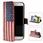 Protective US National Flag Pattern PU Leather Flip Open Case for Samsung S4 / i9500 - Blue + Red