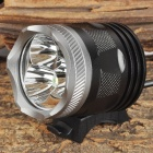 UltraFire 3 x CREE XM-L T6 900lm 3-Mode White Bicycle Light Headlamp - Black + Silver (4 x 18650)