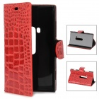 Protective Alligator Pattern PU Leather Flip Open Case for Nokia 920 - Red