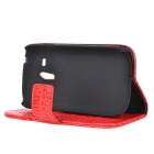 Protective_Alligator Pattern PU Leather Wallet Case for Samsung i8190 / Galaxy S3 Mini - Red