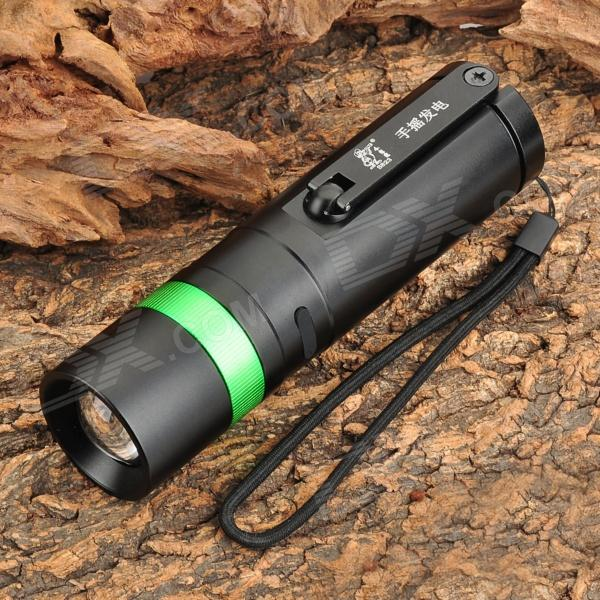 Outdoor Rechargeable Hand Cranked 180lm White Zooming Flashlight w/ CREE XR-E - Black + Green