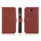 ENKAY Protective PU Leather Case Cover for Samsung Galaxy S3 / i9300 - Brown