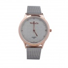 WoMaGe 471 Women's Fashion Round Diamond Quartz Wrist Watch - Beige + Silver + White (1 x LR626)