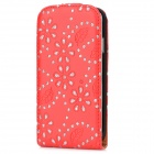 Protective Shining Spangle  + Leaves Top Flip Open PU Leather Case for Samsung S4 / i9500 - Red