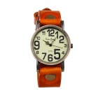 Xing Leng 6618 Women's Retro Leather Band Quartz Wrist Watch - Orange + Coppery (1 x LR626)