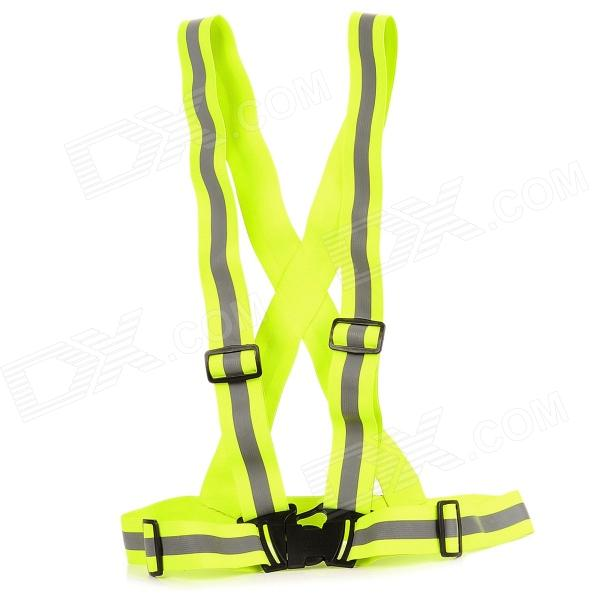 YFY-48 Springy Reflective Safety Strap Vest w/ Buckle - Fluorescent Green + Gray