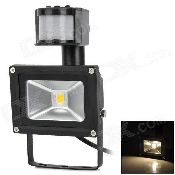 JR-10W-WW-GYTGD Body Sensor 10W 800lm 3500K LED Warm White Spotlight w/ Controller - Black