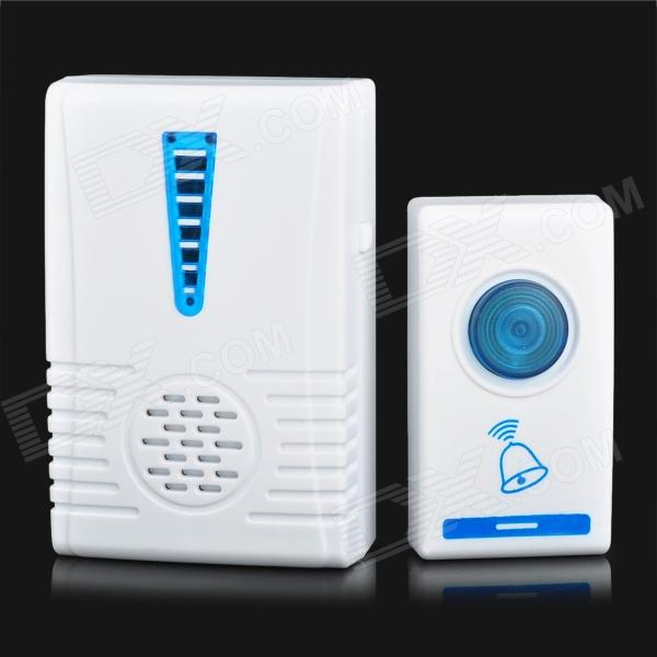 502A Digital 32-Melody Wireless Remote Control Doorbell - White + Blue ((1 x 23A 12V / 2 x AA)