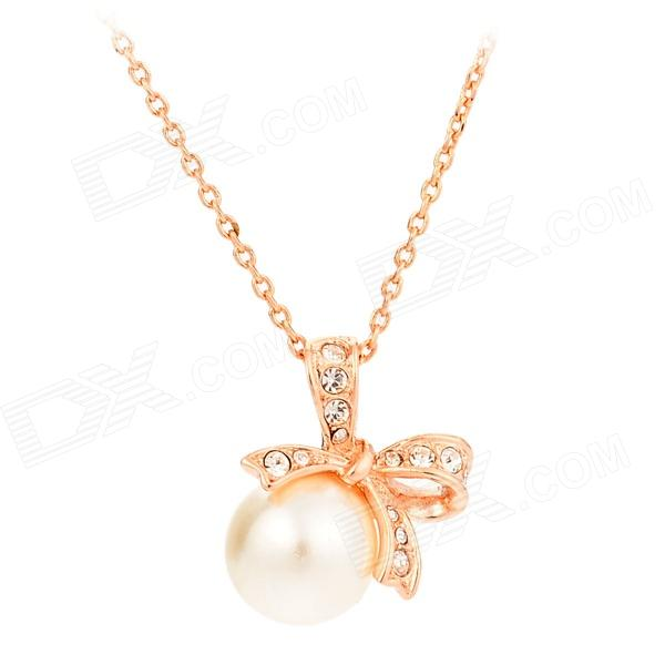 KCCHSTAR Fashion Bow Style w/ Pearl Crystal Pedant Necklace for Women - Golden + White