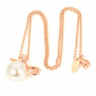 KCCHSTAR Fashion Style Bow w / Crystal Pearl Necklace Pedant pour les femmes - Golden + Blanc