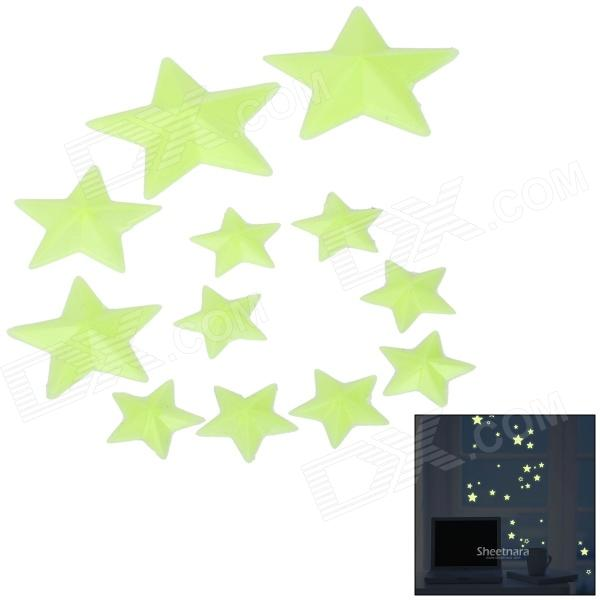 12-in-1 Glow-in-the-Dark Plastic Star Style Sticker for Room Decoration - Fluorescent Green