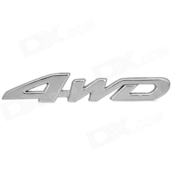 4WD Style Chromium Alloy Car Decorative Sticker - Silver