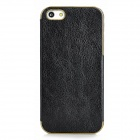 Protective PU Leather Back Case for iPhone 5 - Black + Golden