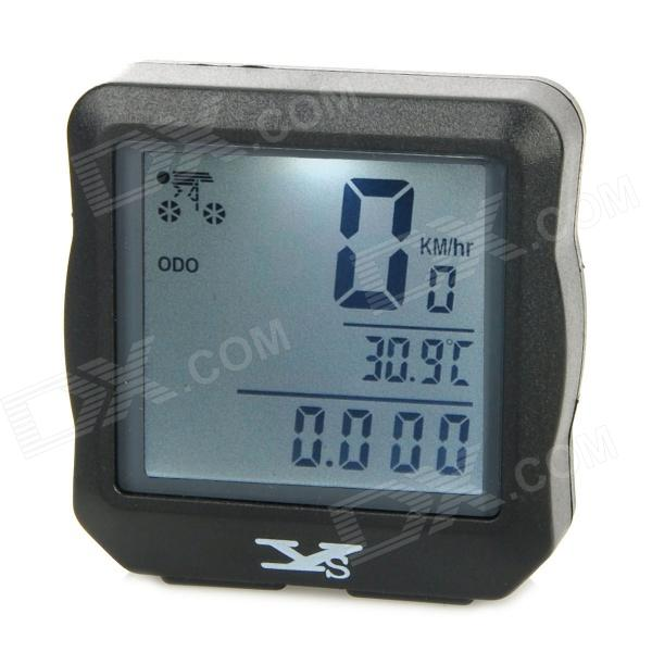 Square Shape Waterproof Backlight Stopwatch for Bike Bicycle - Black (1 x CR2032)