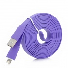USB Male to 8 Pin Lightning Flat Data + Charging Cable for iPhone 5 / iPad 4 - Purple (200cm)