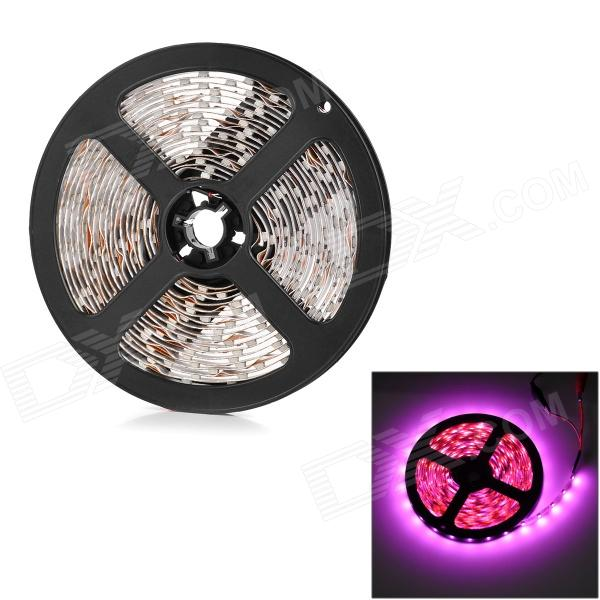 HL 24W 600lm 380nm 300-SMD 3528 LED Pink Light Flexible Light Strip - Black + White (500cm)