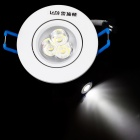 Resch Dayton 3W 6400K 285~315lm 3-LED White Ceiling Lamp / Down Light - White + Silver (AC 85~245V)