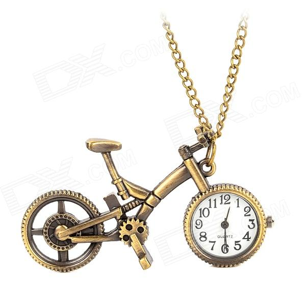 Retro Bicycle Style Quartz Analog Pocket Watch w/ Chain - Bronze (1 x 377) 4 design bronze vintage quartz pocket watch free mason sword art online gear necklace pendant chain womens mens gifts p1123