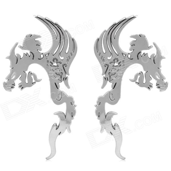 D13042306X 3D Dragon Style Electroplating Alloy Car Decorative Stickers - Silver (Pair) car wheel rims decorative stickers blue 28 piece