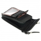 Travelicons Multifunctional PU Leather Multi-Pocket Travelling Bag - Black + Brown