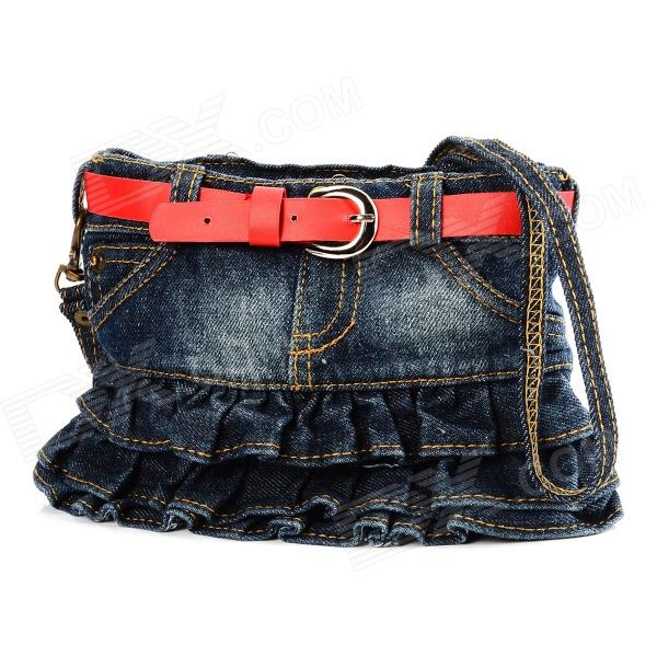 Novelty Stylish Red Belt Jean Denim Skirt Style Zipper Purse w/ Carrying Strap - Blue
