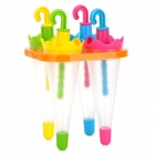 Cute Umbrella Style Ice-lolly Mold - Blue + Yellow + Deep Pink + Green (4 PCS)