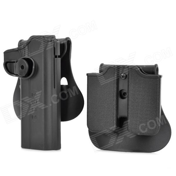 Tactical Military Gun Pistol Holster + Magazine Case for 1911 - Black 2016 tourbon design tactical handgun magazine carry bag canvas with pu pistol case zippered black pouch wholesale