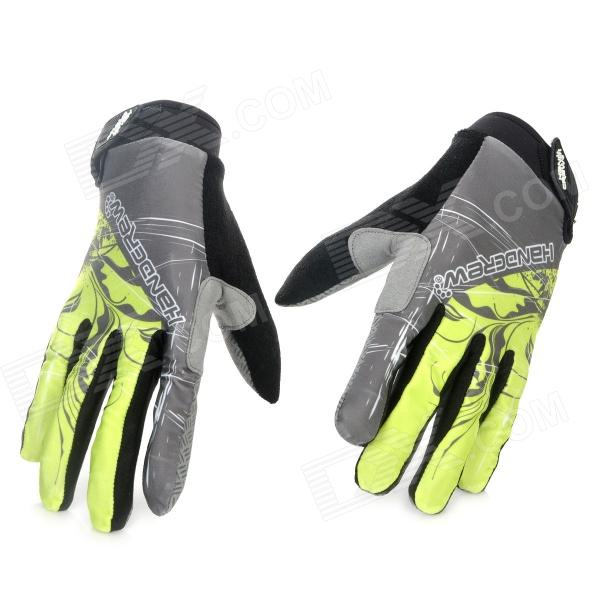 Non-Slip Full-Finger Cycling Spandex Fiber Gloves - Cyan + Grey + Black (Pair / Size-XL) spakct cool006 knuckle riding cycling gloves black white red xl 21cm