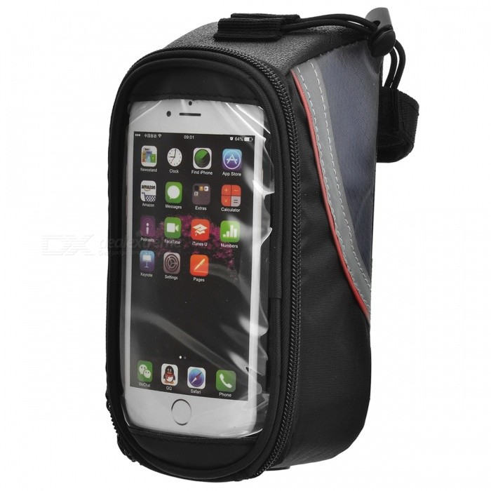 "ROSWHEEL 12496M-C5 4.8"" Top Tube Belt Bag w/ 3.5mm Plug for Touch Screen Phone - Black + Red"