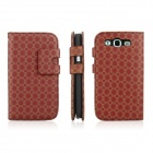 ENKAY Plum Blossom Pattern Protective PU Leather Case w/ Stand for Samsung S3 / i9300 - Red