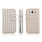 ENKAY Plum Blossom Pattern Protective PU Leather Case w/ Stand for Samsung S3 / i9300 - White