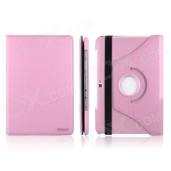 ENKAY ENK-7012 360 Degree Rotate Protective PU Case Cover for Samsung Galaxy Note N8000 - Pink