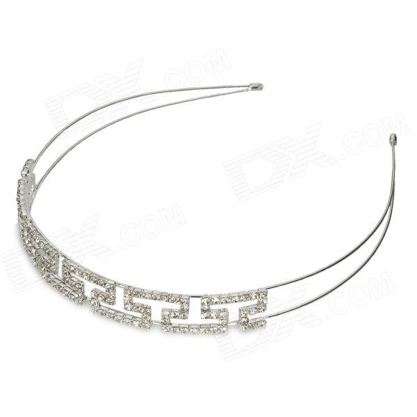 ZX-0366 Fashion Women' s Hollow Out Style Pearl Crystal Hair Band - Silver