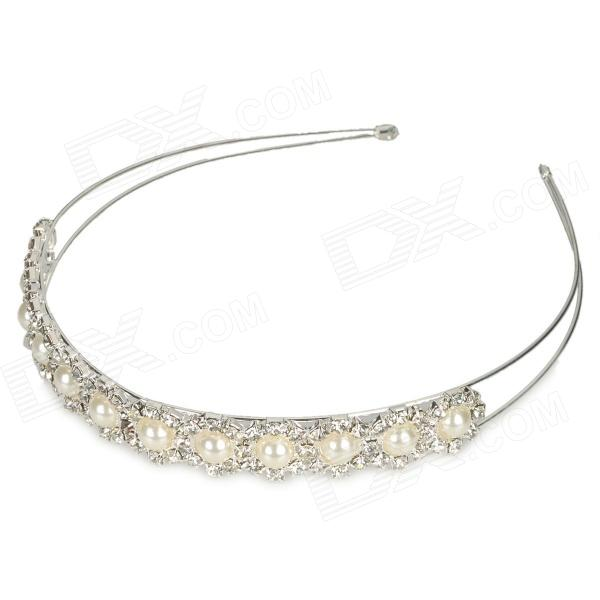 ZX-0369 Fashion Women' s Elegant Pearl Crystal Hair Band - Silver + White