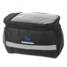 ROSWHEEL 11002 Bicycle Bike Padded Front Bag w/ - Transparent Top Slot - Black