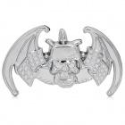 Cool Skull Bat Style Chromium Alloy Car Decorative Sticker - Silver
