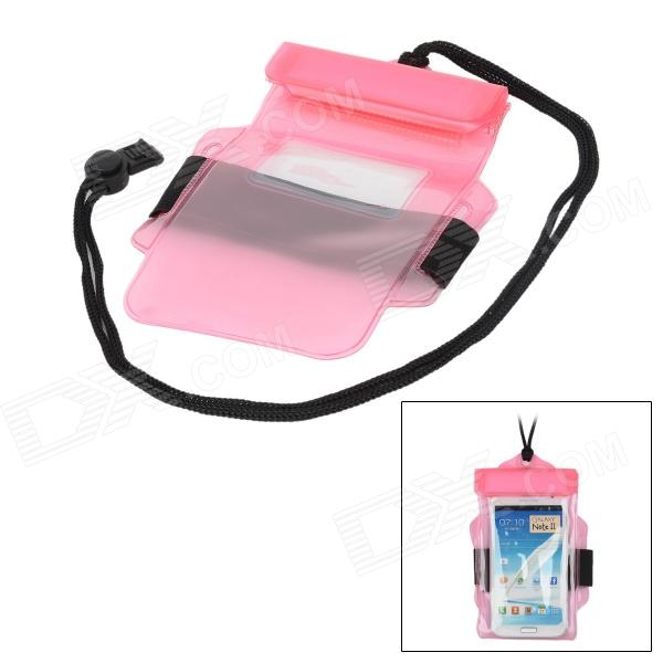 Waterproof Bag Pouch w/ Armband + Neck Strap for Iphone / 5.5 Cell Phones - Pink waterproof bag pouch w compass armband neck strap for iphone 5 4 4s camouflage green page 1