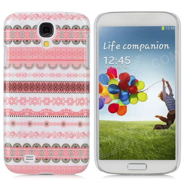 Stylish Protective Plastic Back Case for Samsung Galaxy S4 i9500 - Pink + White stylish crystal inlaid protective plastic back case for samsung s4 i9500 blueish green gray