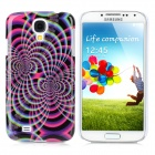 Protective Tattoo Flower Pattern Back Case for Samsung Galaxy S4 / i9500 - Green  + Black + Purple