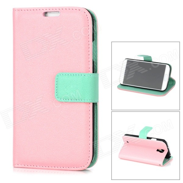 Protective PU Leather + Plastic Case w/ Card Holder for Samsung Galaxy S4 i9500 - Pink protect artificial leather wallet case w plastic holder for samsung galaxy note i9220 black