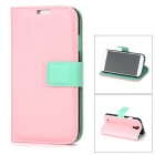 Protective PU Leather + Plastic Case w/ Card Holder for Samsung Galaxy S4 i9500 - Pink
