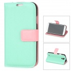 Protective PU Leather + Plastic Case w/ Card Holder for Samsung Galaxy S4 i9500 - Cyan