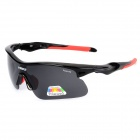 NBIKE UV400 Protection Polarized Resin Lens Sunglasses - Black + Red