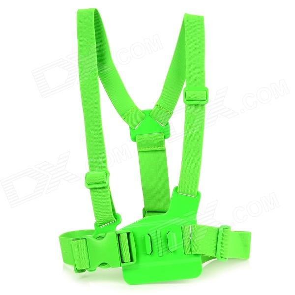 TMC Front Chest Elastic Belt Shoulder Strap Mount for Gopro Hero 4/2 / Hero3 / 3+ / SJ4000 - Green gopro accessories head belt strap mount adjustable elastic for gopro hero 4 3 2 1 sjcam xiaomi yi camera vp202 free shipping