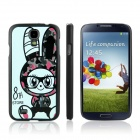 ENKAY Rabbit Girl Pattern Protective Plastic Hard Back Case for Samsung S4 i9500 - Multicolored
