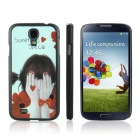 ENKAY Shy Girl Pattern Protective Plastic Hard Back Case for Samsung Galaxy S4 i9500 - Multicolored