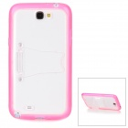 Protective TPU + PC Back Case w/ Stand for Samsung Galaxy Note 2 N7100 - Deep Pink + Transparent